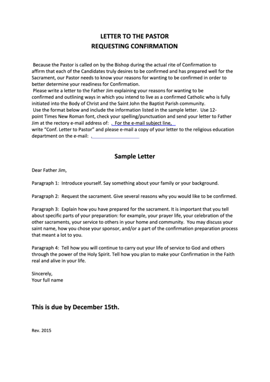 letter to the pastor requesting confirmation printable pdf download
