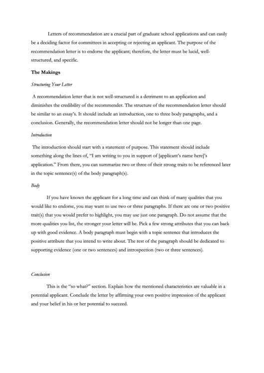 letter of recommendation example pdf