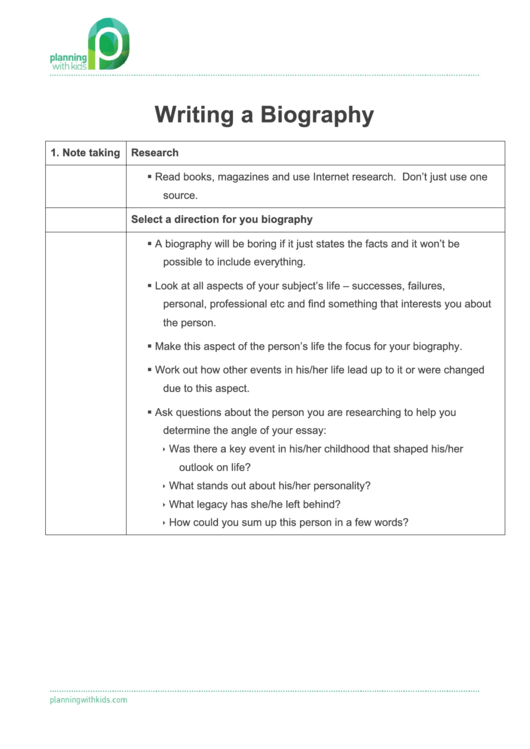 Writing A Biography - Planning With Kids