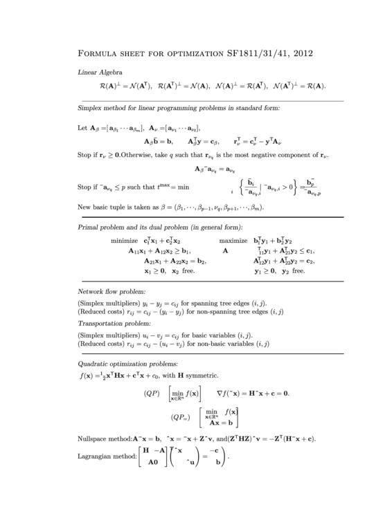 Linear Algebra Formula Sheet