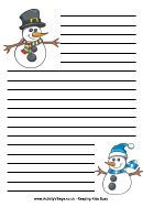 Snowman Writing Paper - Lined