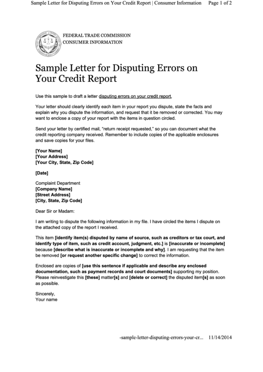 sample letter for disputing errors on your credit report