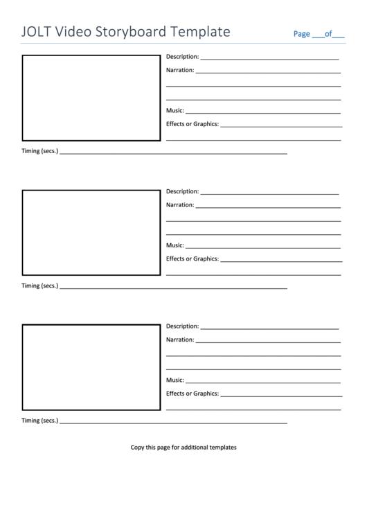 Jolt Video Storyboard Template Printable pdf