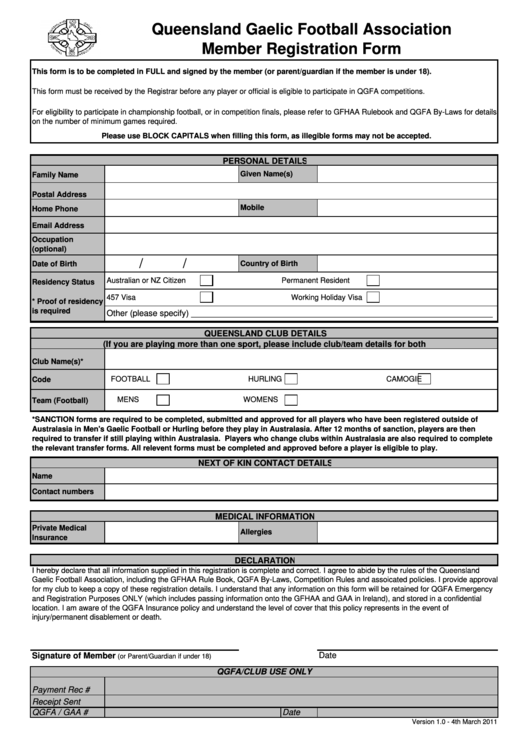 Queensland Gaelic Football Association Member Registration Form