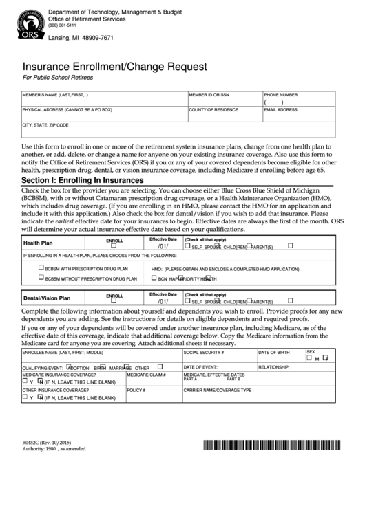 Top 12 Health Insurance Enrollment Form Templates free to ...
