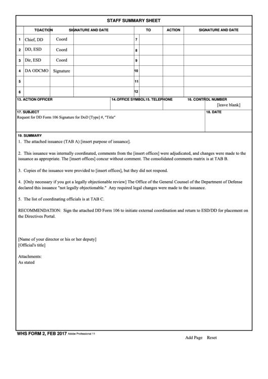 Whs Form 2 - Staff Summary Sheet