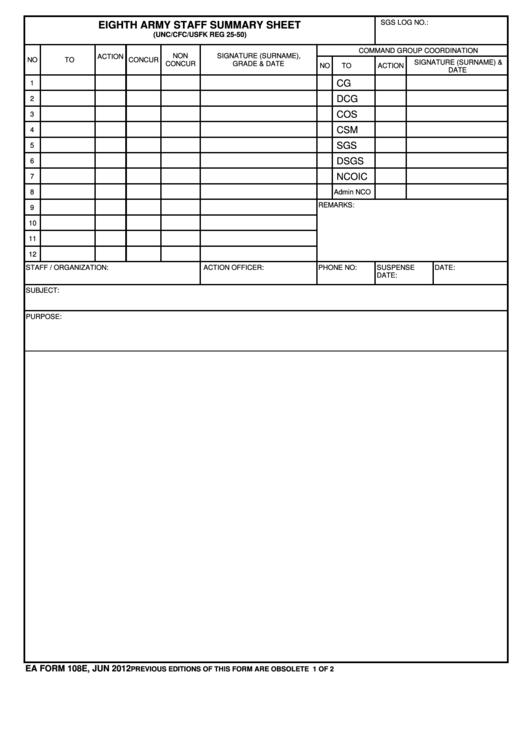 Ea Form 108e - Eighth Army Staff Summary Sheet