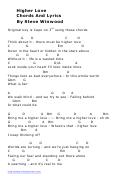 Higher Love Chords And Lyrics By Steve Winwood