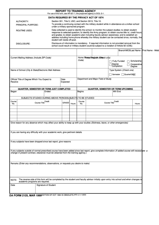 Fillable Da Form 2125 Report To Training Agency printable pdf download