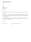 Sample Letter Of Inquiry Template