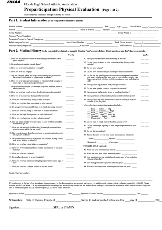 Top 6 Florida School Physical Form Templates free to download in ...