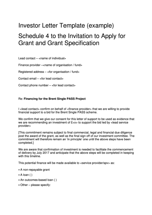 Investor Letter Template (Example) Schedule 4 To The Invitation To Apply For Grant And Grant Specification Printable pdf