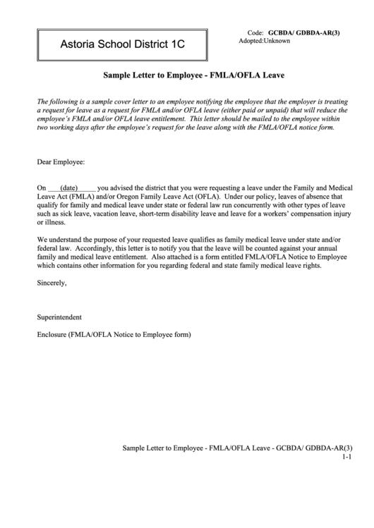 Sample Letter To Employee - Fmla/ofla Leave