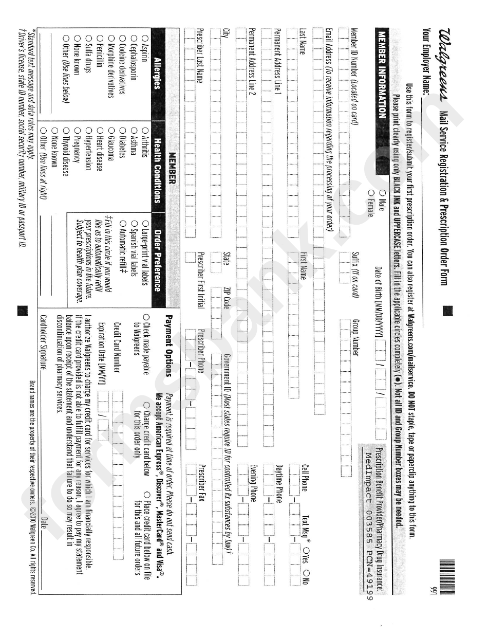 Walgreens Mail Order Rx Form printable pdf download