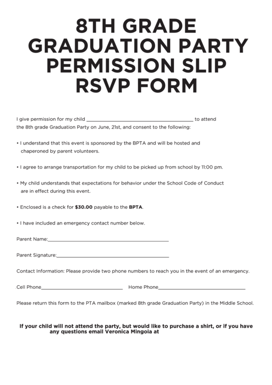 8th Grade Graduation Party Permission Slip Rsvp Form Printable pdf