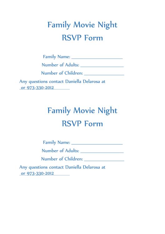 Family Movie Night Rsvp Form Printable pdf