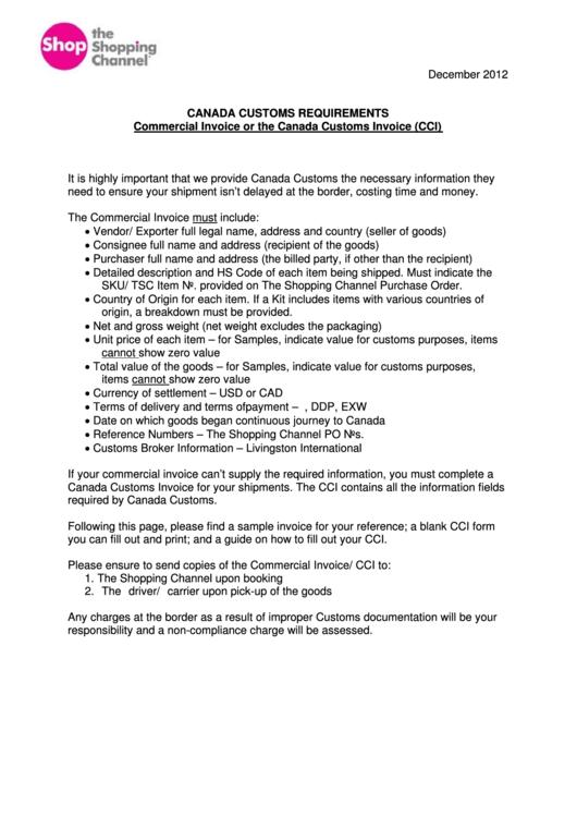 fillable canada customs invoice template printable pdf