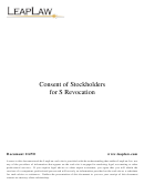 Consent Of Stockholders For S Revocation