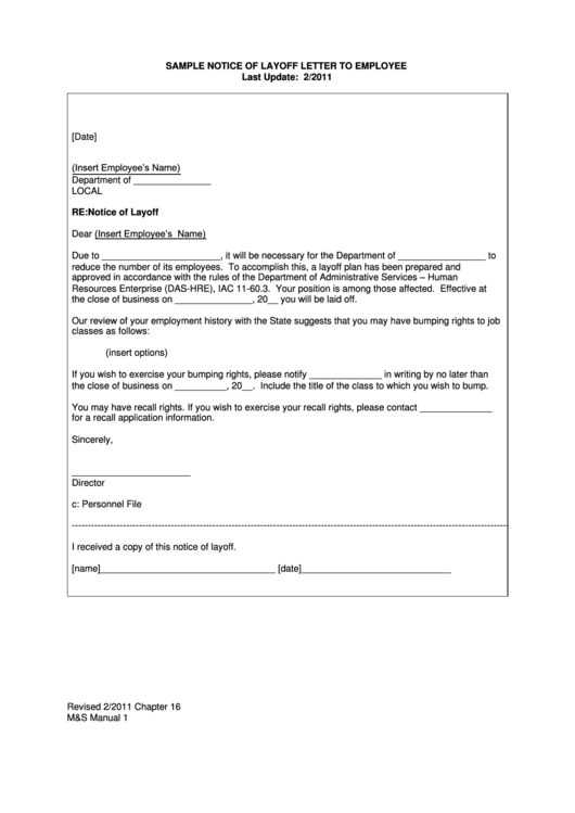 Sample Notice Of Layoff Letter To Employee Printable pdf