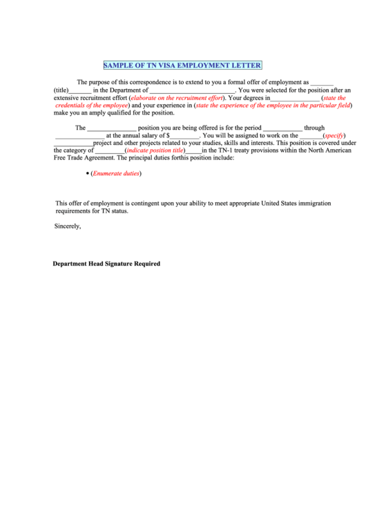 sample of tn visa employment letter printable pdf download. Black Bedroom Furniture Sets. Home Design Ideas