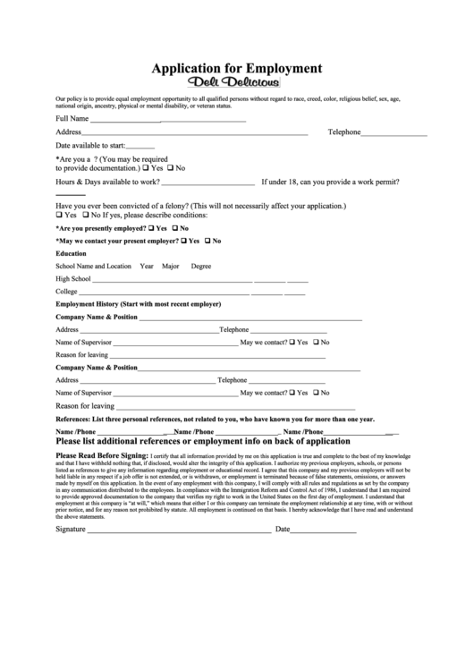 Application For Employment Printable pdf