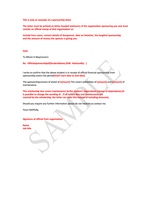 An Example Of A Sponsorship Letter