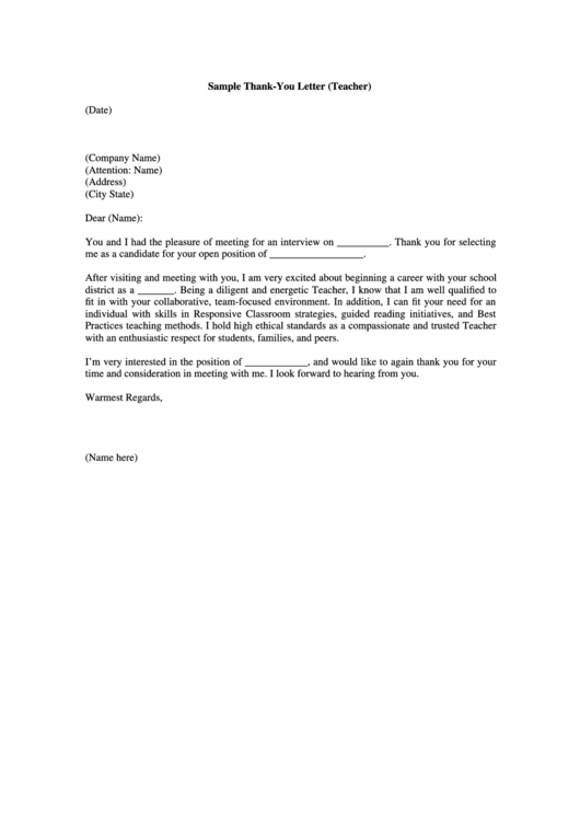 Interview Thank You Letter Template For A Teacher
