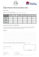 English Teachers Recommendation Letter