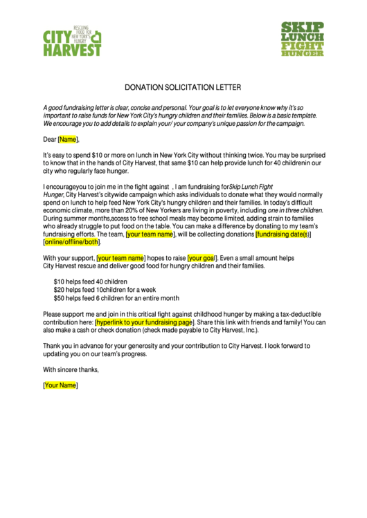 Donation Solicitation Letter Printable pdf