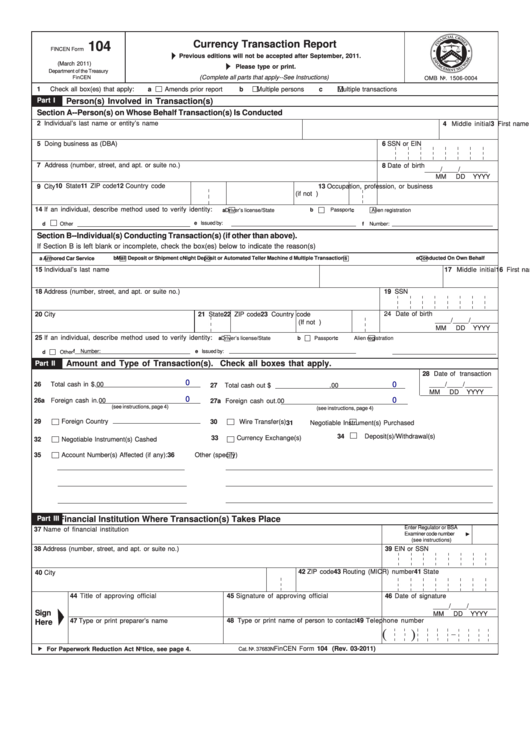 Fincen Form 104 (2011) - Currency Transaction Report printable pdf ...