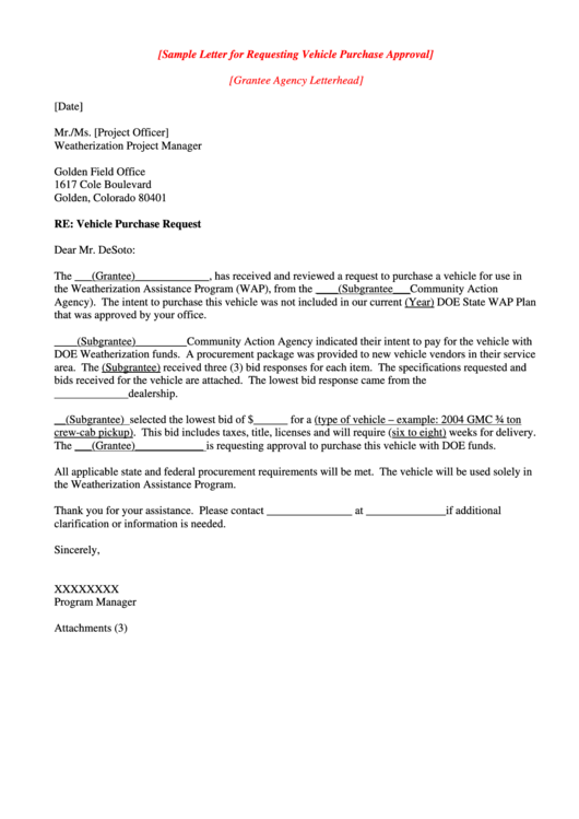 Sample Letter For Requesting Vehicle Purchase Approval
