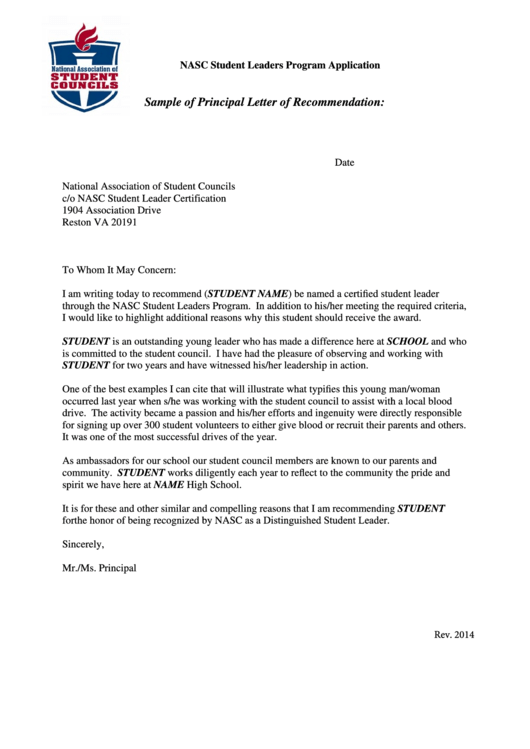 Sample Of Principal Letter Of Recommendation