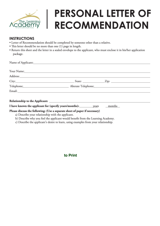Fillable Personal Letter Of Recommendation Printable pdf