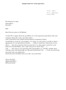 Sample Letter For Work Experience