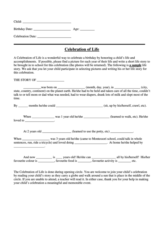 Celebration Of Life Printable pdf