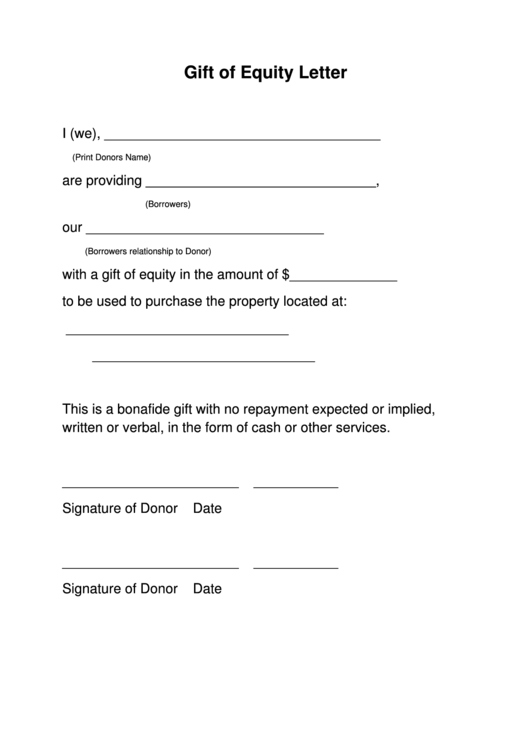 gift of equity letter template printable pdf download