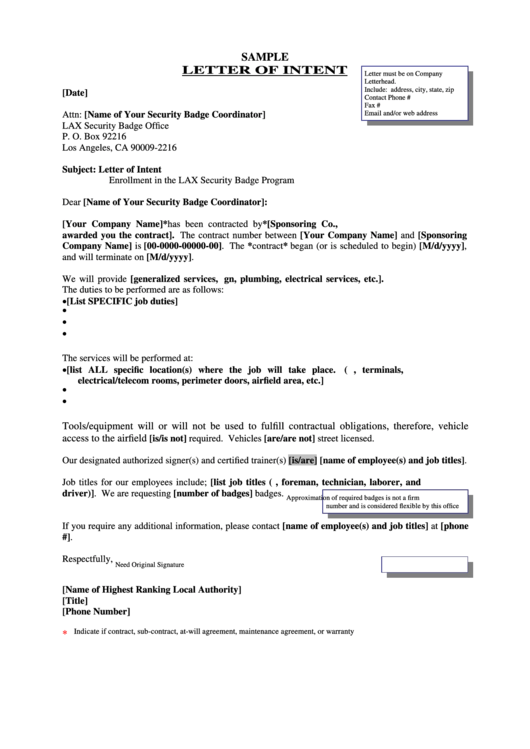 Sample Letter Of Intent Template Printable pdf