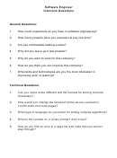 Software Engineer Interview Questions Template