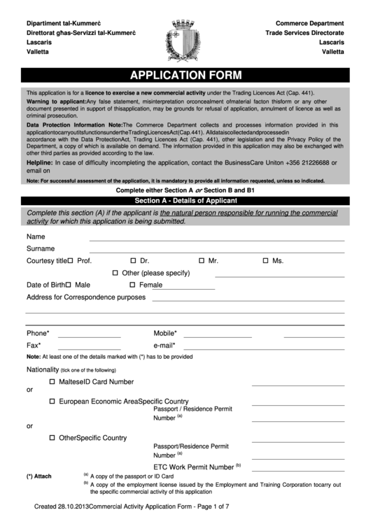 Application Form For A Commercial Activity