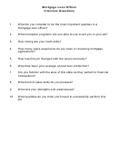 Mortgage Loan Officer Interview Questions