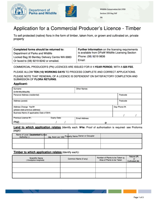 Application For A Commercial Producer's Licence - Timber