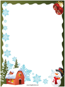 Snowflakes And Snowman Christmas Page Border Template