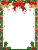 Ribbons Bells And Holly Christmas Page Border Template