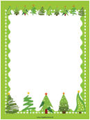 Green Trees Christmas Page Border Template