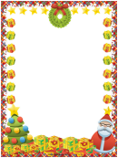 Wreath And Gifts Christmas Page Border Template