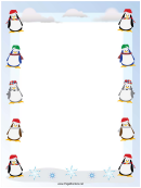 Penguins Christmas Page Border Template
