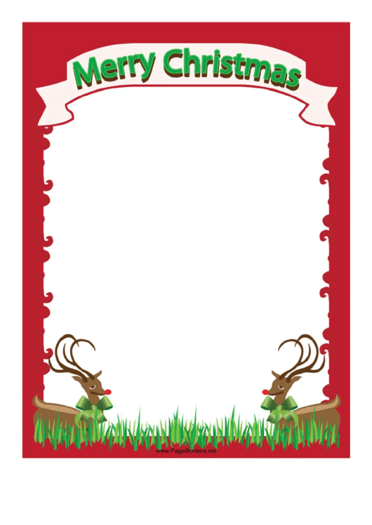 christmas reindeer page border template printable pdf download