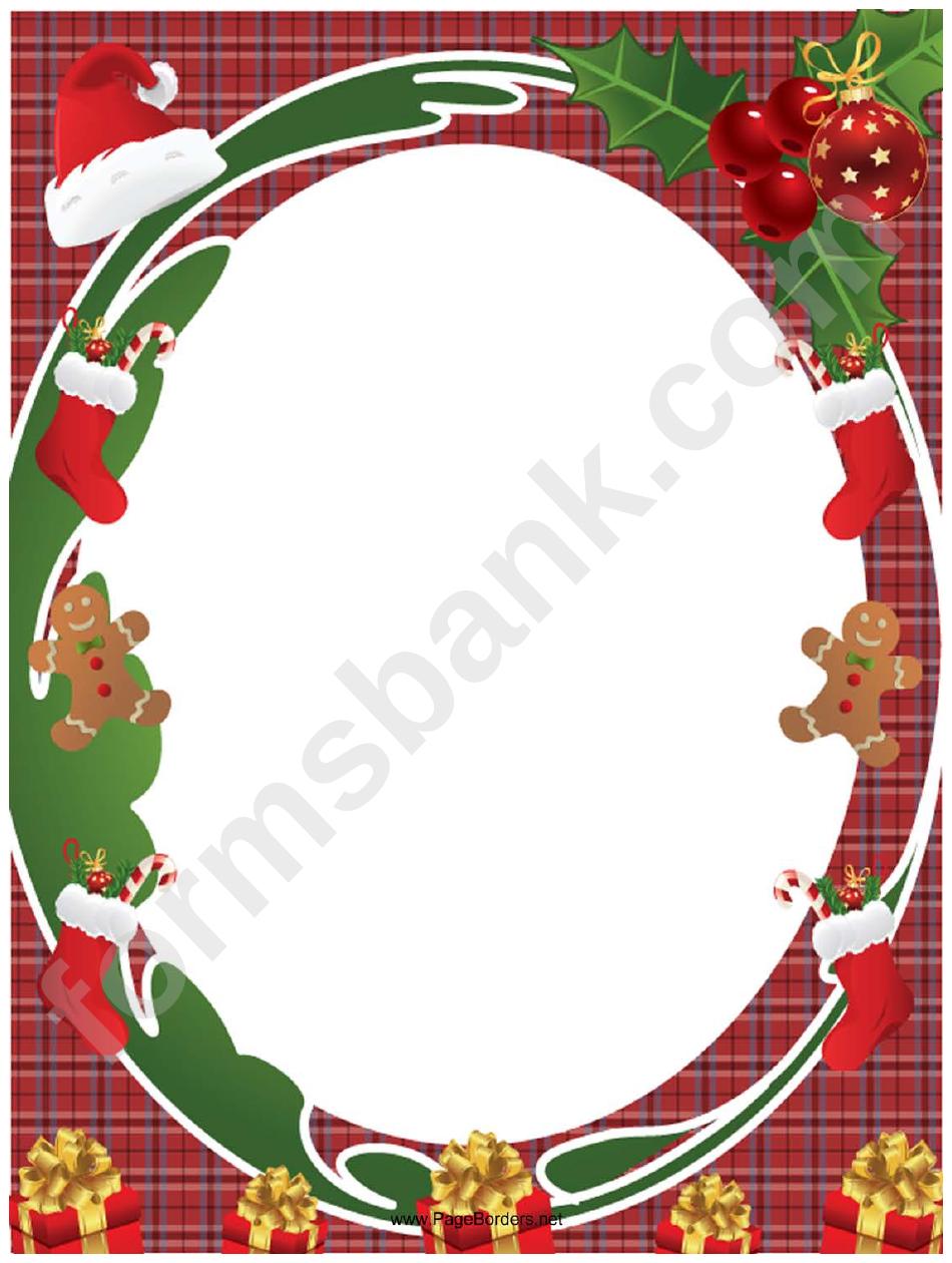Christmas Page Borders.Santa Hat And Holly Christmas Page Border Template Printable
