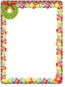 Christmas Wreath And Ornaments Page Border Template