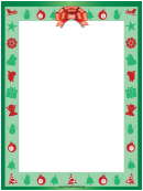 Red Ribbon Christmas Page Border Template